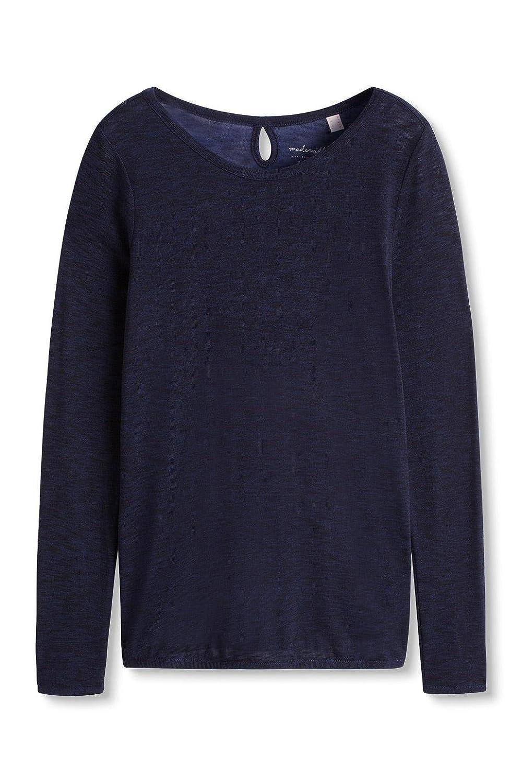 ESPRIT Damen Langarmshirt mit Schlitz Im Nacken, Blau (Navy 400), 34  (Herstellergröße: XS): Amazon.de: Bekleidung