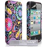 Yousave Accessories Silikon Gel Schutz Hülle Für Apple iPhone 4 / iPhone 4S Schwarz Rot Blau Gelb Rosa Mehrfach Farbige Muster Siri Mit Schutz Folie