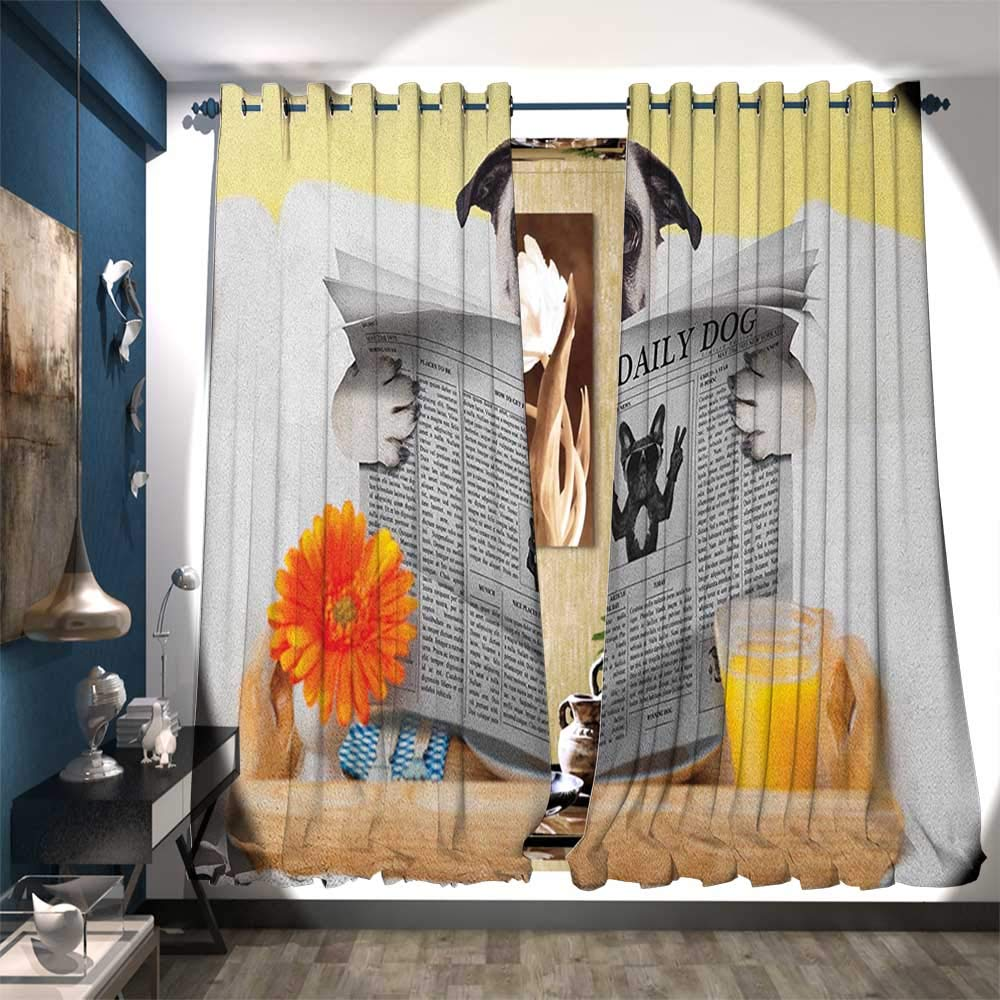 Patterned Drape for Glass Door Pug Reading Daily Dog Breakfast in Bed Sunday Family Fun Comedic Image Waterproof Window Curtain W108 x L96 Pale Brown Yellow Orange