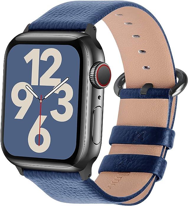 Fullmosa Compatible Apple Watch Band 42mm 44mm 40mm 38mm Leather Compatible iWatch Band/Strap Compatible Apple Watch SE & Series 6 5 4 3 2 1, 42mm 44mm Dark Blue + Smoky Grey Buckle