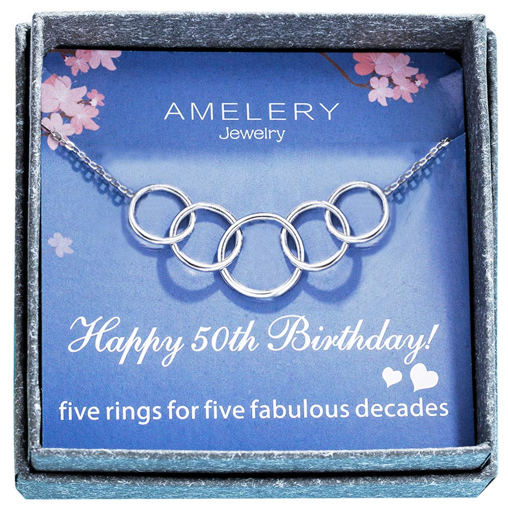 Amelery Necklace Happy 50th Birthday Gifts Women 5 Rings Pendants Circles Five Decades Fabulous Necklaces Circles Pendants Gift Ideas Jewelry for Women 50 Years Old Age Necklace Gifts for Her