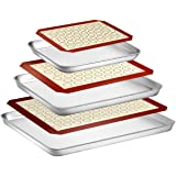 Wildone Baking Sheet with Silicone Mat Set, Set of 6 (3 Sheets + 3 Mats), Stainless Steel Cookie Sheet Baking Pan with…