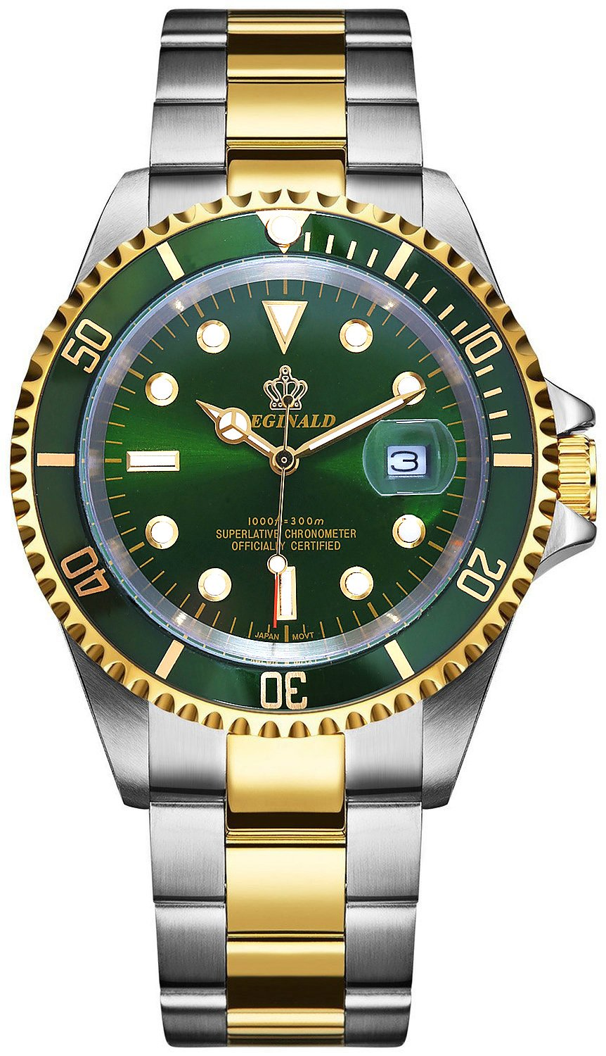 PASOY Mens Watch Green Luminous Sapphire Glass Stainless Steel Quartz Rotatable Bezel Waterproof Watches