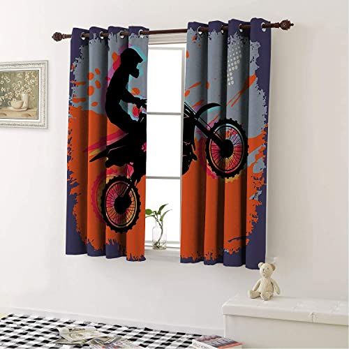 Dirt Bike,Grunge Composition of a Biker in a Stunt Move Cross Country Tournament Theme Multicolor Living Room, Curtain Panels for Patio Door 63 by 45 in