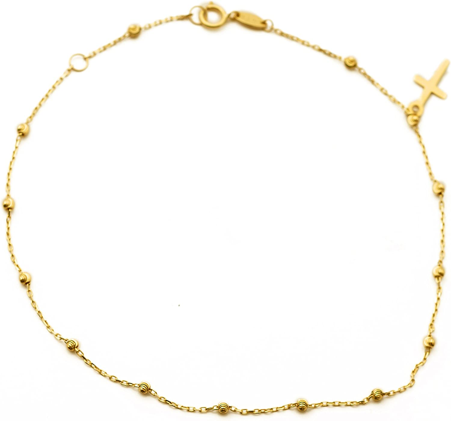 14K YELLOW GOLD ANKLET BRACELET W// DANGLING CROSS CHARM //OVERALL LENGTH 10 INCH
