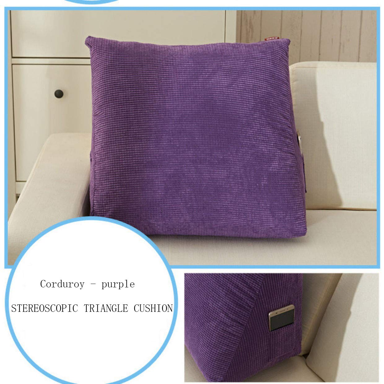 Fluffy Soft Corduroy Triangle Wedge Pillow Waist Sofa Bed Office Chair Cushion Elevating Leg Back Rest Support Pillow 1 PCS -A-Blue