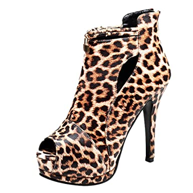 1c3d03924fb Kasien Fashion Women s Sexy Leopard Print Round Toe Shoes Fish Mouth High  Heel Sandals