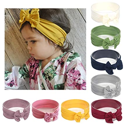 bd1c54651 Baby Nylon headbands Turban Knotted Girls Hairband Super Soft and ...