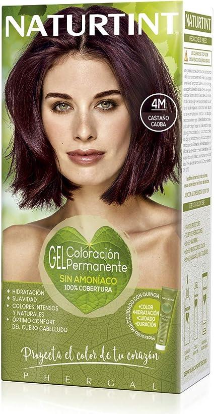 Naturtint | Coloración sin amoniaco | 100% cobertura de canas | Ingredientes vegetales | Color natural y duradero |4M Castaño Caoba | 170ml