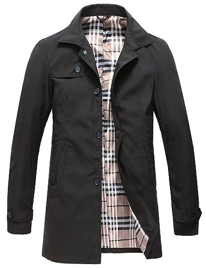 12197a0678 Pinkpum Men s Trench Coat Classic Lightweight Jacket Windbreaker Long  Windcheater Coat Polyester Jackets Business Casual Wear