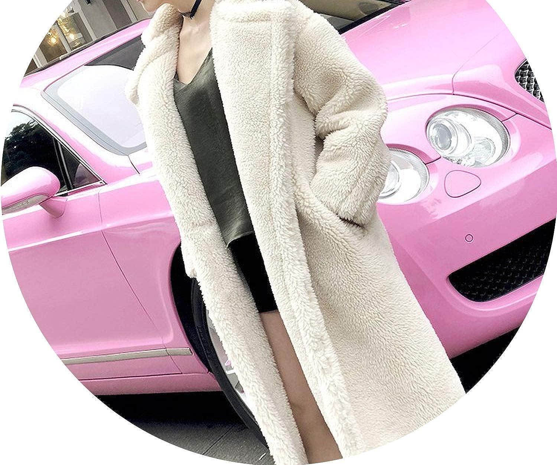 Beige 2018 Autumn Winter Women Faux Fur Coat Casual Double Breasted Thick Long Woolen Coats Female Loose Outerwear