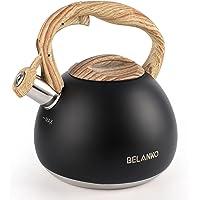 Tea Kettle, BELANKO 102 OZ / 3 Liter Whistling Tea Kettle, Tea Pots for Stove Top Food Grade Stainless Steel with Wood…