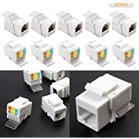 LeaningTech 10 pcs CAT6 RJ45 Ethernet Module Punch de Down Keystone