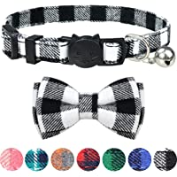 Dynmeow Plaid Pattern Cat Collars Breakaway with Bell & Bowtie