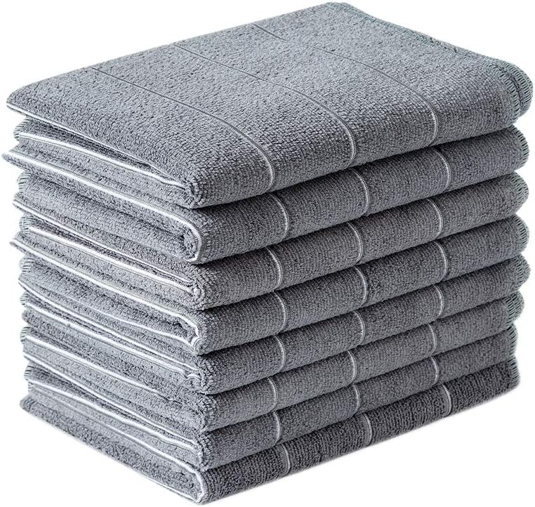 Microfiber Kitchen Towels - Super Absorbent, Soft and Thick Dish Towels, 8 Pack (Stripe Designed Grey Colors), 26 x 18 Inch (Grey)