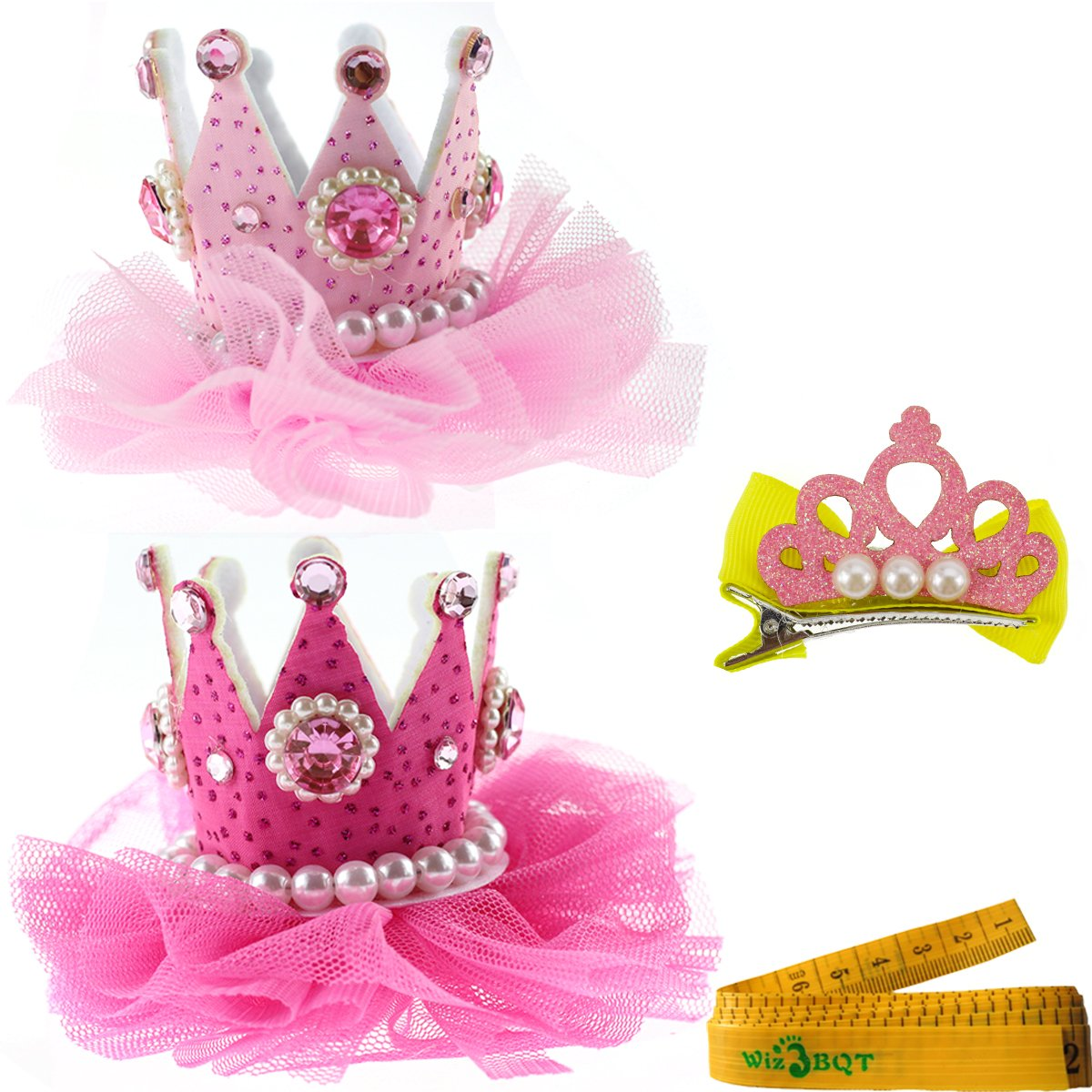 2 Pcs Adorable Cute Cat Dog Pet Birthday Party Crown Shaped Lace Hair Clips and 1 Pcs Crown Shaped Clip for Kitten Puppy Small Dogs Cats Pets (B)