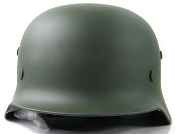 NuoYa005 Coleccionable WW2 alemán M35 ejército de Casco de Moto de Acero Esfera Verde