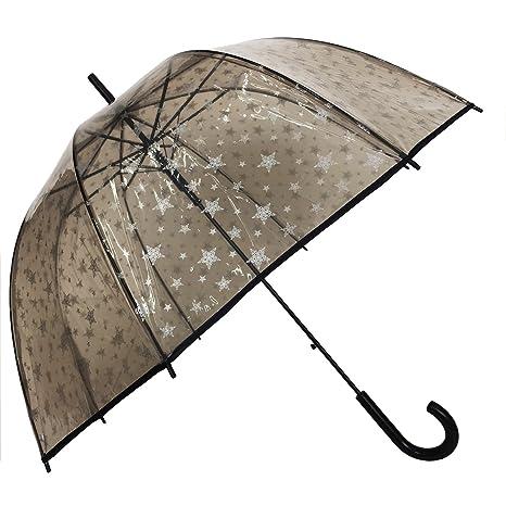 Paraguas para mujer, diseño de campana y dome automática théme-Smati estrellas Transparente transparente
