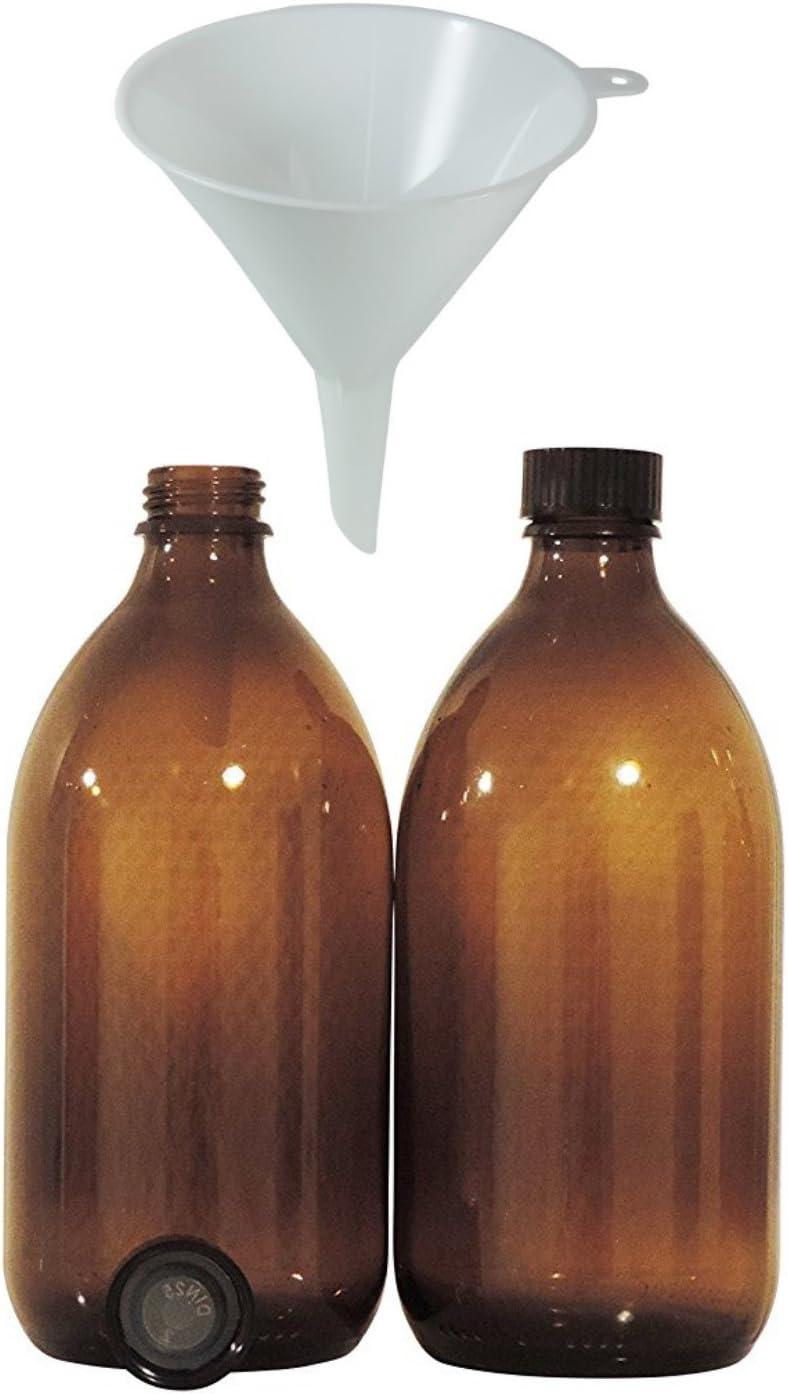 2 botellas medicinales marrones de 500 ml, botella de cuello estrecho con cierre de rosca, fabricadas en Alemania y sin BPA, incluye embudo