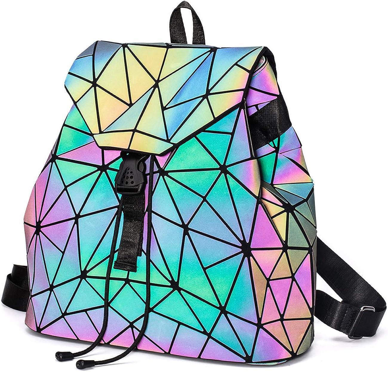丿 Geometric Luminous Women Purse Holographic Reflective Flash Colorful Daypacks
