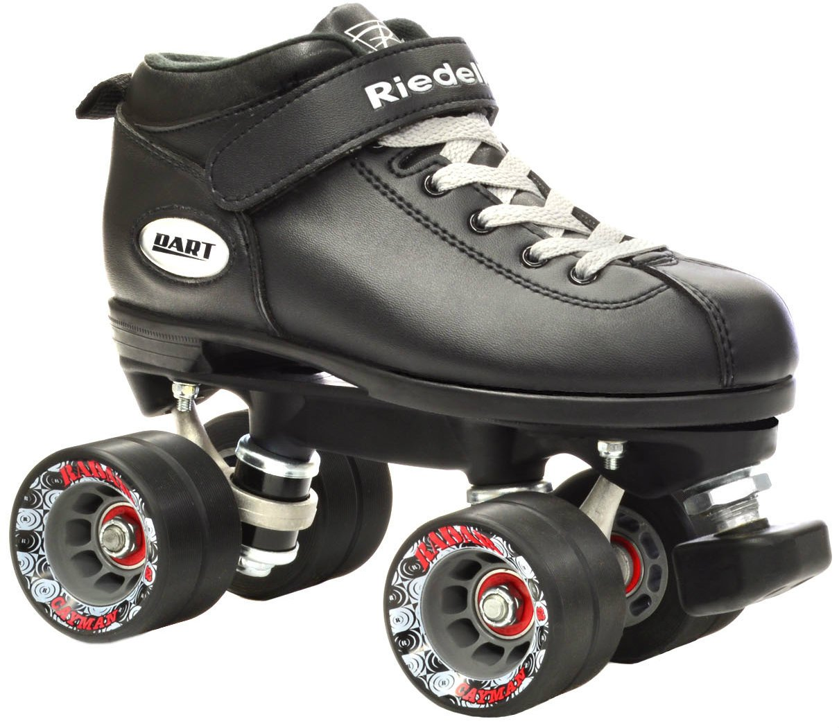Riedell Dart Vader Quad Roller Derby Speed Skate w/ 2 Pair of Laces (Gray & Black) (Mens 7 / Ladies 8) by Riedell