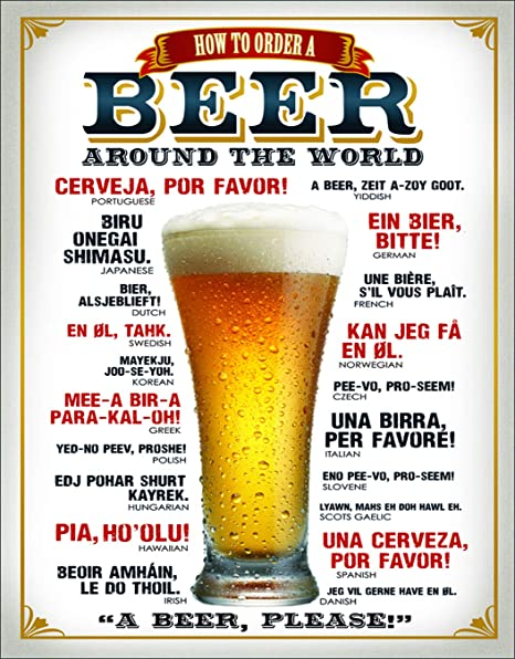 "Amazon.com: Cartel de metal ""How to Order a Beer"" ..."