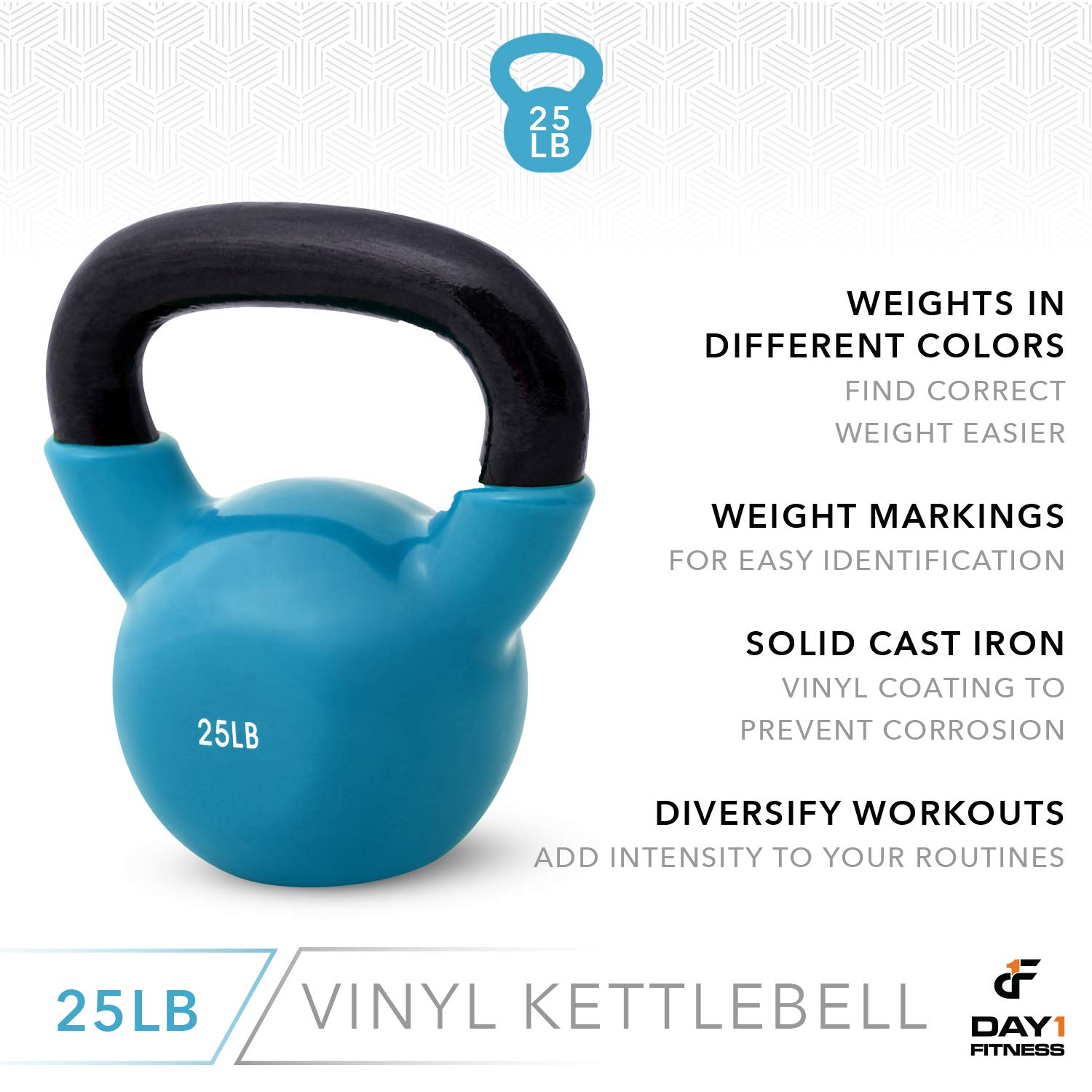 Day 1 Fitness Kettlebell Weights Vinyl Coated Iron 25 Pounds - Coated for Floor and Equipment Protection, Noise Reduction - Free Weights for Ballistic, Core, Weight Training by Day 1 Fitness (Image #5)