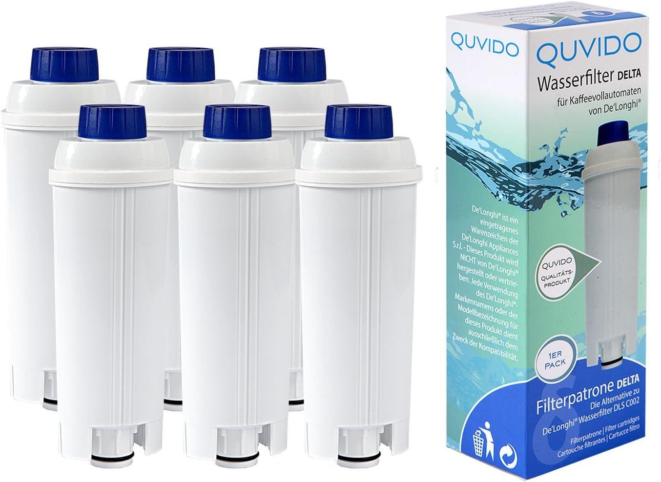 6 x QUVIDO Filtro de agua Delta para Delonghi cafetera eléctrica ...