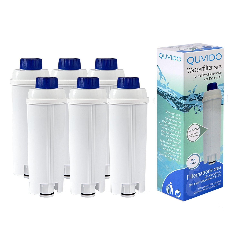 6 x QUVIDO Filtro de agua Delta para Delonghi cafetera ...