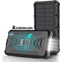 Solar Power Bank 32800mAh, Solar Charger, Qi Wireless Charger, Outputs 5V/3A High-Speed & 2 Inputs Huge Capacity Phone…