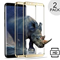 Galaxy S8 Plus Screen Protector, [2-PACK] iAlegant S8 Plus Tempered Glass Protector 3D Curved HD Clear Scratch Resistant 100% Touch Sensitivity Glass Screen Protector for Samsung Galaxy S8 Plus-Gold