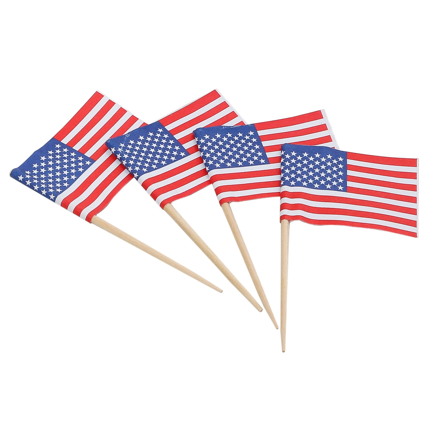 KingSeal American Flag Toothpicks, 2.5 Inch - Master Case of 100 Packs of 144 per Case, US Flag Picks for Sandwiches, Appetizers, Cupcake Toppers, and More!