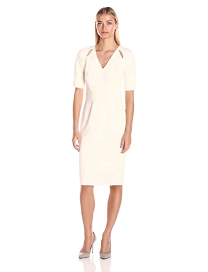 Maggy London Women S Scuba Screpe Cut Out Midi Dress At Amazon