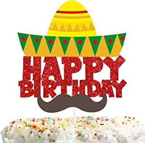 Mustache Sombrero Happy Birthday Cake Topper Red Yellow Glitter Mexican Fiesta Theme Decorations Baby shower Birthday Party Decor Supplies