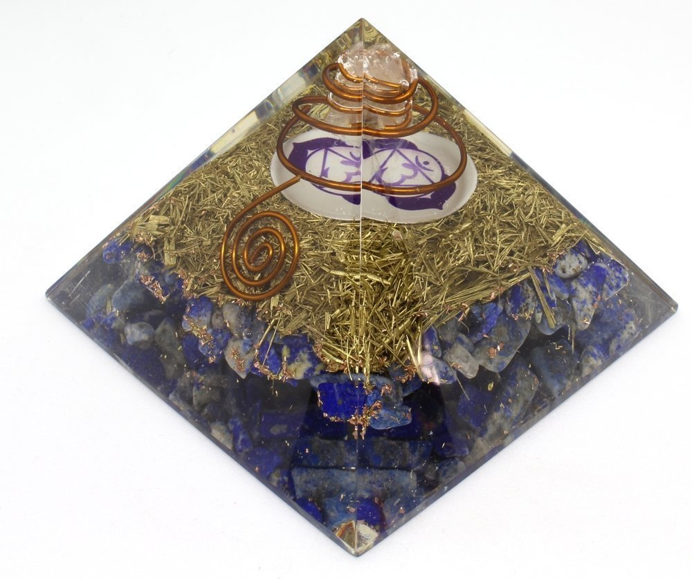 Orgone Pyramid Energy Generator – Third Eye Chakra Symbol Orgonite Lapis Lazuli Crystal Pyramid with Brass Metal for EMF Protection - Chakra Balancing-Healing-Meditation-Yoga