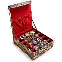 Trendifly Wooden Velvet Bangle Box Bangle Organizer Box Jewellery Storage Box Square Gold 4 Rod