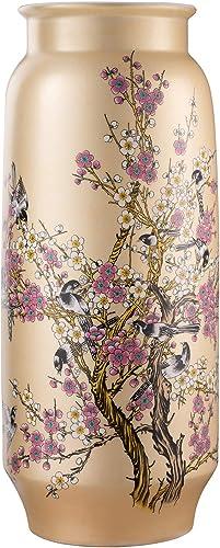 ufengke Plum Blossom Large Floor Vase,Handmade Decorative Vase,Tall Yellow Ceramic Vase for Flower,Height 19