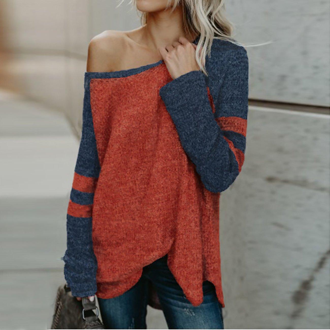 43501387ba Yieune Langarmshirt Damen aus der Schulter Bluse Schöne Oberteile Casual  Tunika Pullover: Amazon.de: Bekleidung