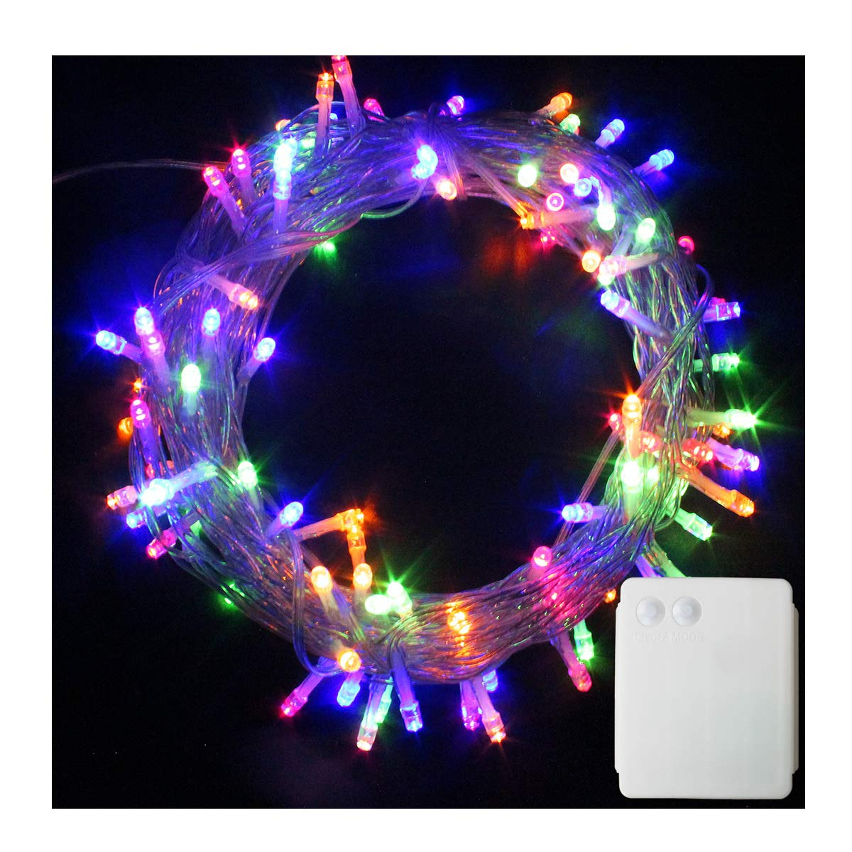 PMS 500 LED String Fairy Lights Clear Cable Battery Power Operated Indoor Outdoor for Christmas Tree Xmas Party Garden Decoration Multi Color 500 LEDs