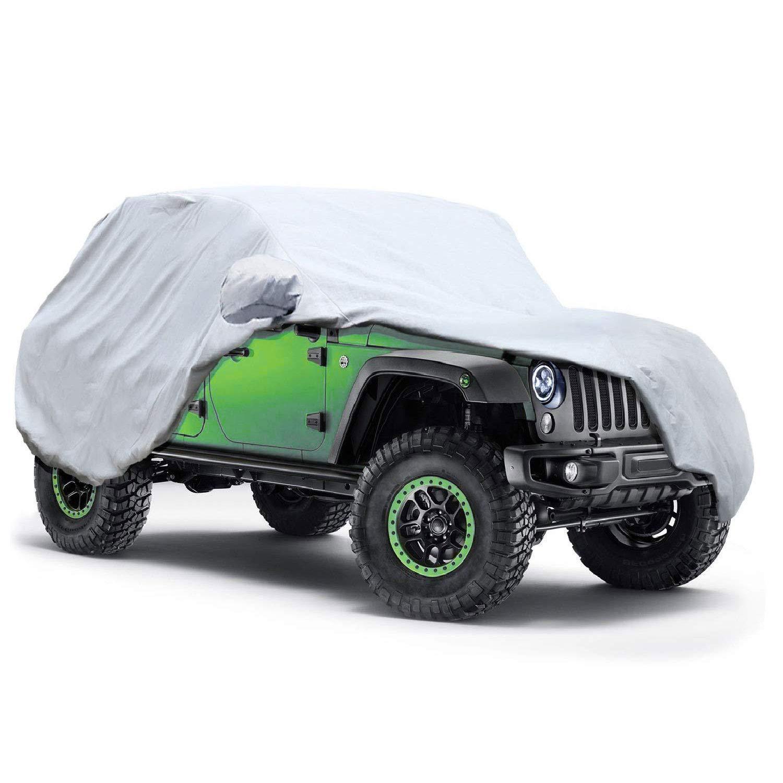 Odthelda Jeep Car Cover Wrangler 2 Door 5 Layers, Waterproof Windproof Dustproof All Weather Prevention Car Cover
