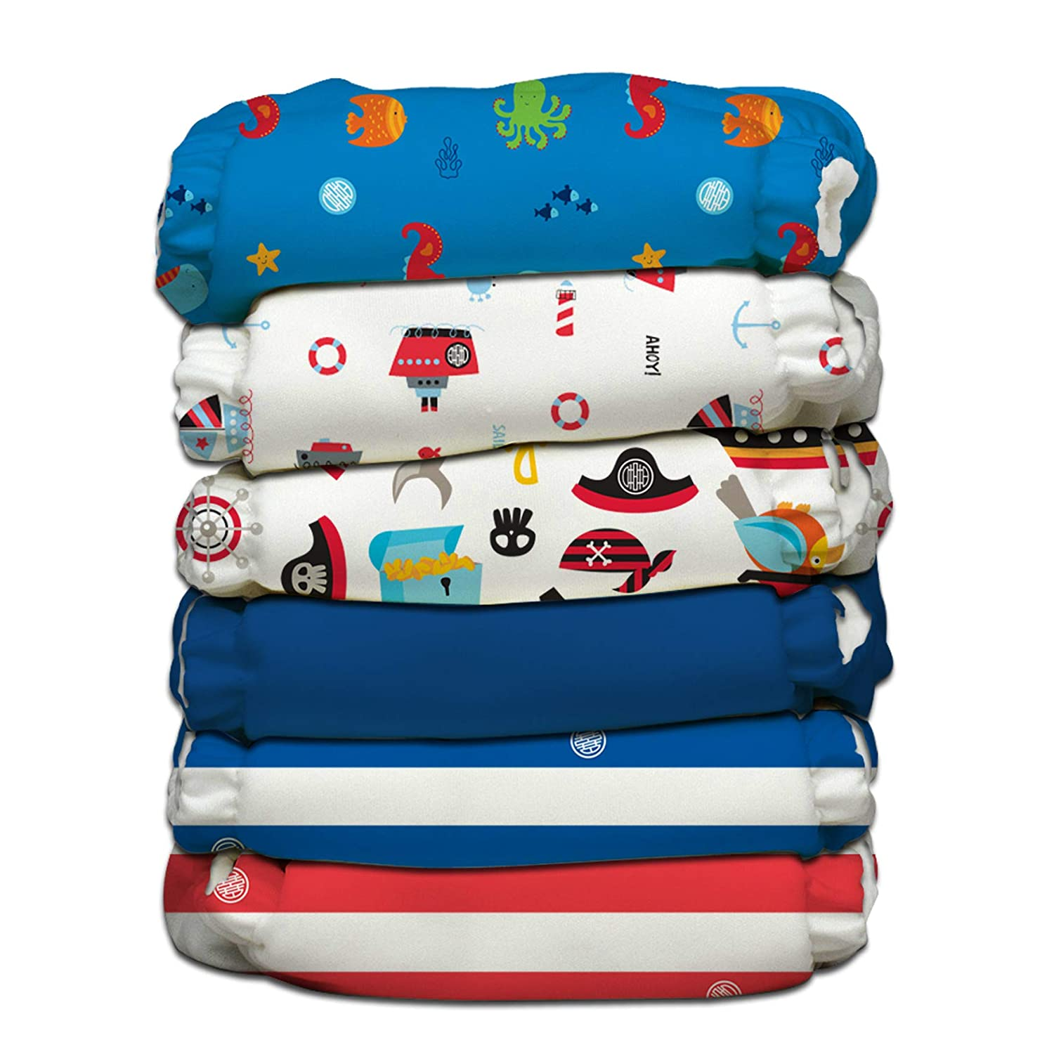 Charlie Banana 6 Diapers 12 Inserts Hybrid AIO, Ocean Flair, One Size Winc Design Limited 888398
