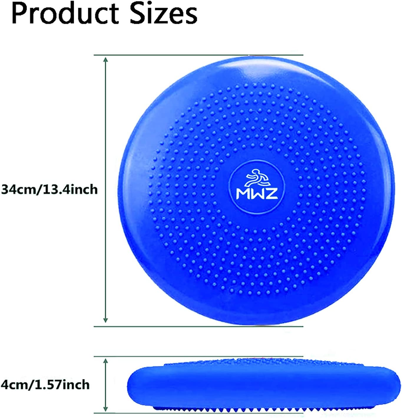 MWZ 34cm//13inch Balance Disc Fitness Inflatable Wobble Cushion Air Stability Exercise Balance Pad Core Balance Disc Home Gym Workout Equipment Kids Wiggle Seat