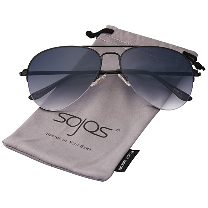 e55dd8013d34 SOJOS Classic Aviator Mens Womens Sunglasses Metal Half Rim Mirrored Lens  INSPIRATION SJ1106 with Black Frame