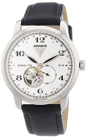 Junkers 63604 - Reloj analógico automático para hombre con correa de piel, color negro: Amazon.es: Relojes