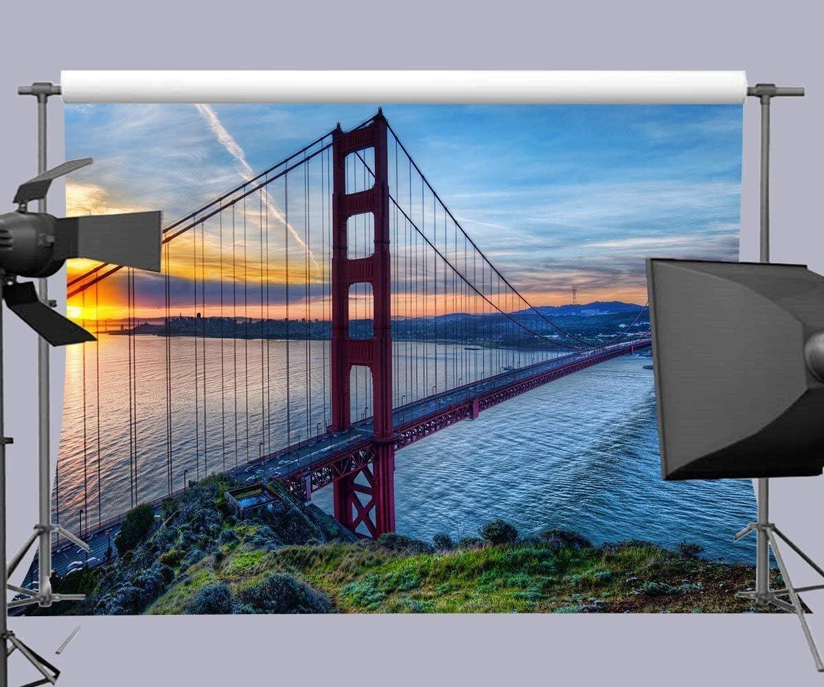 10x8ft America Golden Gate Bridge Photography Backdrop Photo Props Room Mural Photo Background M001
