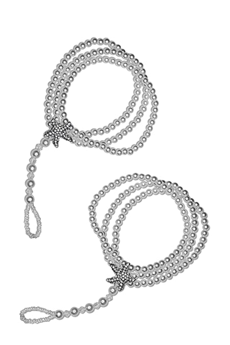 e17ff20e00373d Ivory Barefoot Sandals - Beach Wedding Beaded Pearl Anklet with Rhinestone  Starfish - Set of 2