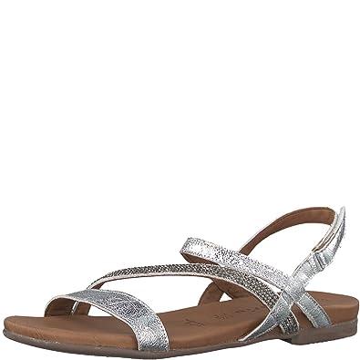 Womens 28126 Sling Back Sandals, Braun/Silber (Nut/Pewter 484), 3 UK Tamaris