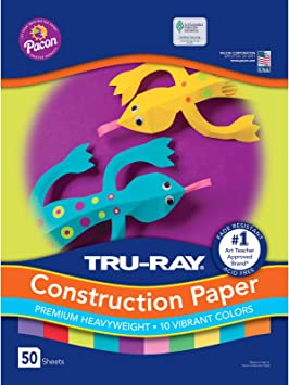 9 x 12 50 Sheets Bright Assorted Tru-Ray Heavyweight Construction Paper