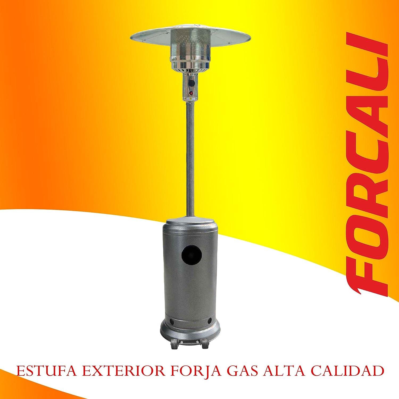 ESTUFA EXTERIOR A GAS CON RUEDAS GRIS FORJA: Amazon.es: Hogar
