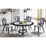 Round Marble Dining Table with Lazy Susan T-6316 (Table Only)